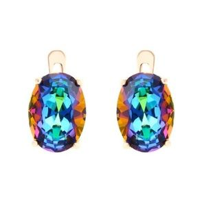 585 Yellow Gold Multi Color Oval CZ Earrings